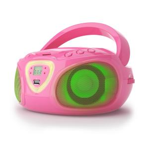auna Roadie Boombox CD USB MP3 Radio OM/OUC Bluetooth 2.1 Gioco Cromatico LED Rosa