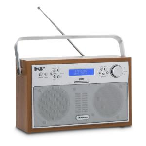 Akkord Digitalradio portabel DAB+/PLL-UKW Radio Alarm LCD walnuss