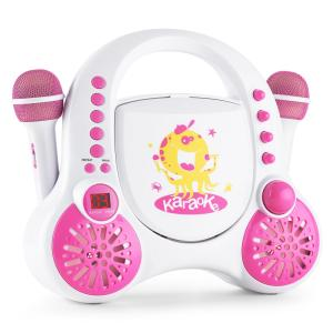 Rockpocket Children's Karaoke System CD AUX 2x Microphone Sticker Set White