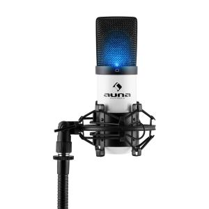 MIC-900WH-LED USB Kondensator Mikrofon weiß Niere Studio LED