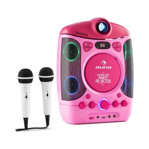 Kara Projectura 2 in 1 Karaoke Machine LCD Beamer projector LED lightshow usb pink MP3 2 Mics CD
