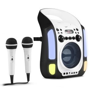 Kara Illumina Karaoke Machine CD USB MP3 LED Light Show 2 x Microphones Portable black