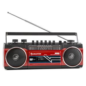 auna Duke Radio cassette rétro Boombox USB MP3 SD Bluetooth tuner FM -rouge