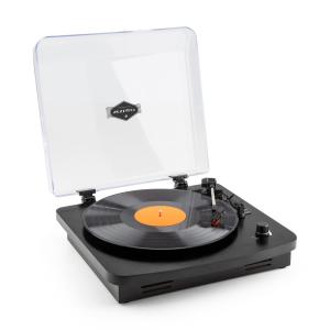 TT370 Retro Record Player integrated speakers USB MP3 AUX black