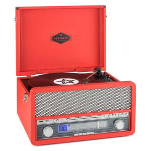 auna Belle Epoque 1907 Sistema Audio Retrò Giradischi Cassetta Bluetooth MC USB