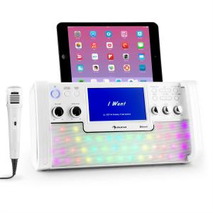 "DiscoFever Bluetooth equipo de karaoke LED Pantalla 7"" CD USB blanco"