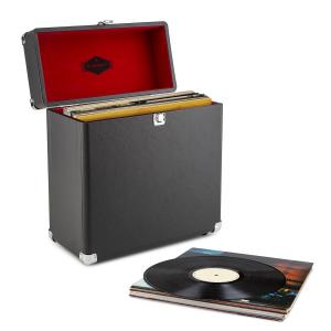TTS6 Vinylbox Plattenkoffer Leder Nostalgie 30 LPs schwarz