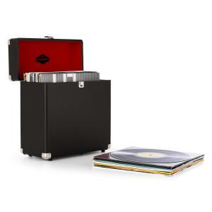 auna TTS6 Coffret à vinyles Style rétro en cuir Rangement 30 disques – noir