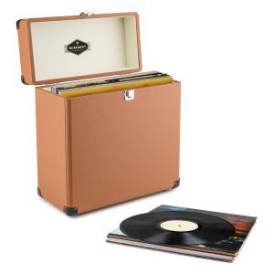 TTS6 Vinylbox Plattenkoffer Leder Nostalgie 30 LPs braun