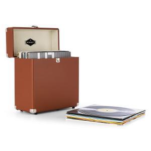 auna TTS6 Coffret à vinyles style rétro en cuir rangement 30 disques – marron