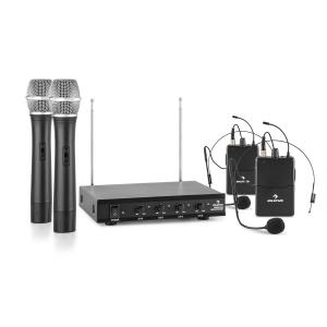 VHF-4-HS 4-Channel VHF Wireless Microphone Set 2 x Headset 2 x Hand Microphone 50 m