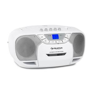 auna BeeBerry Boom Box Ghettoblaster Radio FM lecteur CD MP3 K7 USB - blanc
