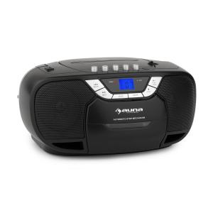 auna BeeBoy Boom Box Ghettoblaster Radio FM lecteur CD MP3 K7 USB - noir
