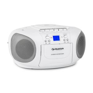 auna BoomBerry Boom Box GhettoBlaster Radio lecteur CD K7 MP3 AUX - blanc