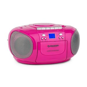 BoomGirl Boom Box Ghettoblaster Radio reproductor CD/MP3 casete rosa