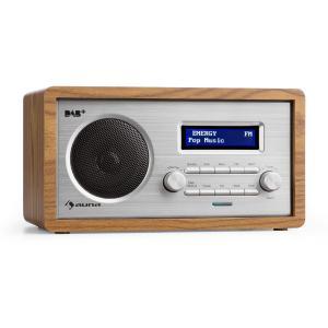 Harmonica DAB+/FM Radio dual alarma Aux LCD carcasa de madera nogal