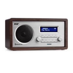 Harmonica DAB+/FM Radio dual alarma Aux LCD carcasa de madera wengué