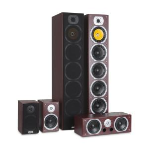 V9B Set Altoparlanti Surround 5 Casse 440W RMS mogano