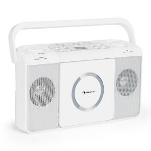 Boomtown USB Poste radio FM et lecteur CD portable MP3 - blanc