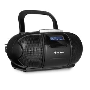 BeeBoy DAB Boombox | Ghettoblaster | Stereo-Lautsprecher | DAB+ -Tuner | UKW-Radio & CD/MP3-Player | tragbarer Kassettenplayer | LCD-Display | Sleep-Timer | Weckfunktion | schwarz