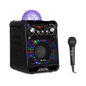 Rockstar LED Impianto Karaoke Lettore CD Bluetooth USB AUX 2 x 6,3mm Nero