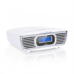 Dreamee DAB+ Radiowecker mit CD-Player | Radio: UKW (FM) & DAB+ Empfang | CD-Player: CD / CD-R / CD-RW / MP3 | integrierte Stereo-Lautsprecher | Digital-Display | USB-Ladeanschluss | AUX-In | Dual-Alarm | Sleep-Timer | Retro-Look | weiß