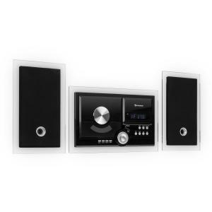 auna Stereosonic Stereo System, Wall Mounting, CD Player, USB, BT, Black