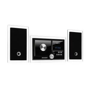 auna Stereosonic Impianto Stereo, Montaggio a parete, Lettore CD, USB, BT, nero