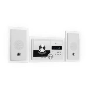 Stereosonic Stereo System | Wandmontage | automatischer CD-Player | USB-Port für MP3-Dateien | Bluetooth-Funktion | AUX-Eingang | LCD-Display | UKW-Tuner | Schlaf-Funktion | Alarm-Funktion | inklusive Fernbedienung | weiß