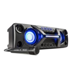 Ultrasonic BT Boombox | Bluetooth | LCD Display | LED Disco Light Effect | Karaoke-Funktion | inklusive Mikrofon | für Netz- oder Akkubetrieb geeignet | Akku mit 12 V 4Ah | 2x 20W RMS | 80W max. | AUX-IN 3,5mm | 2x Mikrofoneingang 6,3mm | schwarz