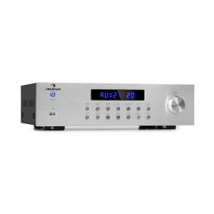auna AV2-CD850BT amplificatore stereo a 4 zone 5x80W RMS Bluetooth USB FM argento