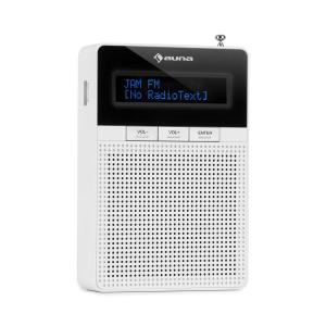 auna DigiPlug Radio con Presa di Corrente FM, FM/PLL, BT, display LCD, bianco