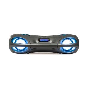 Spacewoofer Boombox | CD-Player | UKW-Radio | 2x 5W + 2x Passivboxen | Netz- oder Batteriebetrieb | Bluetooth | Anschlüsse: AUX IN, USB, BT und Kopfhöreranschluss | SRC LED Lighting System | Fernbedienung | grau