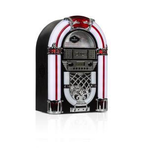 Arizona Jukebox   Bluetooth-Funktion   UKW/FM-Radio   USB-Port und SD-Slot   MP3-Wiedergabe   CD-Player   SRC LED Lighting System   Designgehäuse aus Eichenholz   kompakte Größe (38,5 cm Höhe)   schwarz