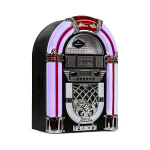 auna Arizona Jukebox, BT, UKW-Radio, USB, SD, MP3, lettore CD, nero