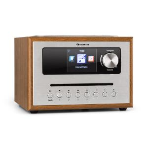 auna Silver Star CD Cube Radio Bluetooth Pantalla HCC Madera Marrón