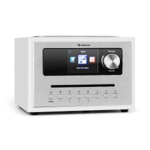 auna Silver Star CD Cube Radio Bluetooth HCC Display bianco