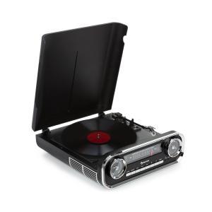 Challenger LP Plattenspieler | Riemenantrieb | Bluetooth | UKW-Radio | USB | Abspielgeschwindigkeiten: 33, 45 und 78 U/min | Retro-Design | schwarz