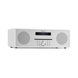Silver Star CD-FM | Slot-In CD-Player | UKW-Radio | 2x20W max. | Stereosound | USB-Port | Solid Steel Industrial Design Concept | Bluetooth | AUX IN | Kopfhörereingang | Fernbedienung | weiß