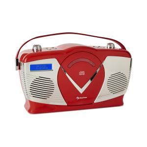 auna RCD-70 DAB Radio FM/DAB+ Lecteur CD USB Bluetooth Look rétro rouge