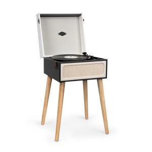 Sarah Ann Plattenspieler | für Schallplatten mit 33, 45 und 78 U/min | Koffer-Design mit abnehmbaren Beinen | Stereolautsprecher | USB-Anschluss | SD-Card-Steckplatz | Bluetooth | Stereo-Cinch-Ausgang | schwarz/creme