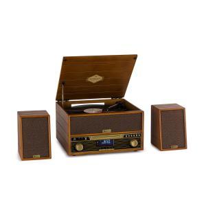 Belle Epoque 1910 Retro-Stereoanlage | Plattenspieler 33 1/3, 45 und 78 U/min | CD-Player | USB-Aufnahmefunktion | UKW-Radio | Kassettenspieler | 2 Lautsprecher | Bluetooth | LED-Display | braun