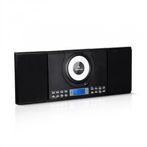 Wallie Microsystem | CD-Player | Bluetooth | 2x 10W RMS Stereo-Lautsprecher | USB-Port | UKW-Tuner | AUX- Kopfhörer- und 2x Lautsprecherbuchsen | Wandmontage oder Aufstellung per Standfuß | Fernbedienung | schwarz
