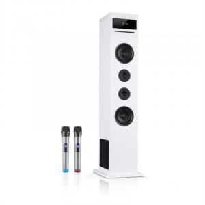 Karaboom 100 Sing Karaoketurm | 2.1 Lautsprechersystem | 120 Watt max. | OneSide Subwoofer | Bluetooth | CD-Player | UKW-Radiotuner | 2 in 1 USB | Tablethalter | 2 Mikrofone (wireless) | weiß