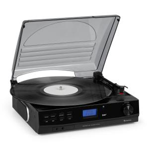 TT-186 DAB Plattenspieler | DAB+/FM Radio | Bluetooth-Funktion | Riemenantrieb mit 33/45 U/min | AUX-Eingang | Line-Ausgang | Schlaffunktion | inkl. Kopfhörer-Anschluss