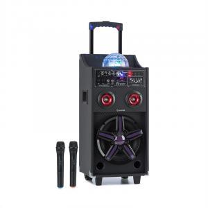 Disque auna DisGo Box 100 Système de sono mobile LED 50 W RMS BT lecteur SD USB Batterie noire