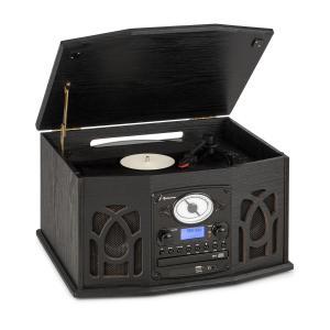 NR-620 DAB Stereoanlage | Plattenspieler mit 33 und 45 RPM | CD-Player | Kassettenrekorder | Radio | Bluetooth | USB-Port | Easy Recorder | spielt CD, CD-R/RW & MP3CD ab | Holzdesign | schwarz