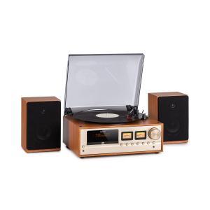 Oxford Retro-Stereoanlage | DAB+/FM Radiotuner | 2 Lautsprecher mit 20 W max. | Bluetooth | Plattenspieler | Riemenantrieb mit 33/45/78 Umdrehungen pro Minute | CD-Player | AUX-Eingang | Kopfhörer-Anschluss | Fernbedienung | Farbe: Champagner