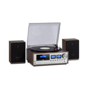 Oxford Retro-Stereoanlage | DAB+/FM Radiotuner | 2 Lautsprecher mit 20 W max. | Bluetooth | Plattenspieler | Riemenantrieb mit 33/45/78 Umdrehungen pro Minute | CD-Player | AUX-Eingang | Kopfhörer-Anschluss | Fernbedienung | Holzrahmen | Dunkelgrau