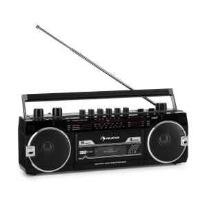 Duke MKII Kassettenrekorder | Bluetooth | Direct Encoding von Kassette auf USB/SD | 4-Band Radio: FM, MW, SW1, SW2 | separater Bass- und Lautstärkeregler | Teleskopantenne | USB | SD Card Slot | Netz- oder Batteriebetrieb | schwarz